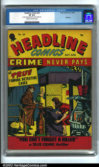 Headline Comics #24 (Headline, 1947). Condition: CGC VF 8.0, cream to off-white pages. 2 center wraps detached from bott...