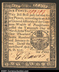 Colonial Notes:Pennsylvania, April 10, 1777, 6d, Pennsylvania, PA-211, XF. ...