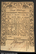 Colonial Notes:Rhode Island, May, 1786, 3s, Rhode Island, RI-294, CU. An attractive note wit...