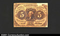 Fractional Currency:First Issue, First Issue 5c, Fr-1230, VF. A large paper peel is present in t...
