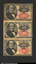 Fractional Currency:Fifth Issue, Three Fifth Issue 25c notes. One is a Fr-1308, Fine, and the ot...