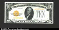Small Size:Gold Certificates, 1928 $10 Gold Certificate, Fr-2400, Choice-Gem CU. A boldly emb...