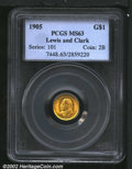 Commemorative Gold: , 1905 $1 Lewis and Clark MS63 PCGS. Mintage: 10,000. ...