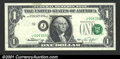 Error Notes:Shifted Third Printing, 1974 $1 Federal Reserve Note, Fr-1908-J, XF. A neat shifted ove...