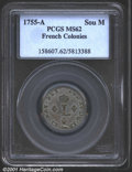 1755-A SOU M French Colonies Sou Marque MS62 PCGS. This high grade Sou Marque has subdued, satiny surfaces with even gra...