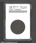 1787 1C Fugio Cent--Corroded--ANACS. Fine Details, Net VG8. STATES UNITED 4 Cinquefoils Kessler 15-Y, R.2. The devices h...