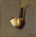 Fine Art - Painting, American:Antique  (Pre 1900), WILLIAM MICHAEL HARNETT (American 1848-1892). The Pipe Rack (TheArtist's Pipe Rack), 1877. Oil on panel. 7-3/4 x 7-1/4 ...