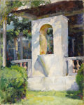 Fine Art - Painting, American:Modern  (1900 1949)  , LUIGI LUCIONI (American 1900-1988). Crystal Fountain And LoggiaAt Laurelton Hall, 1925. Oil on canvas. 25 x 20 inches (...