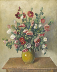 OTAKAR (OTHON) COUBINE (Czech 1883-1969) Still Life, Vase Of Hollyhocks Oil on canvas 36-1/2 x 28-7/8 inches (92.7 x