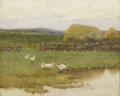 Western:Modern, ARTHUR HOEBER (American 1854-1915). Through The Fields. Oilon canvas. 16 x 20 inches (40.6 x 50.8 cm). Signed lower rig...