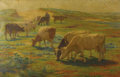Fine Art - Painting, European:Modern  (1900 1949)  , EDGARD FARASYN (Belgian 1858-1938). Cows At Pasture. Oil oncanvas. 53 x 34 inches (134.6 x 86.4 cm). Signed lower right...