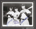 "Autographs:Photos, Joe DiMaggio, Mickey Mantle & Ted Williams Signed Photograph.Terrific 8x10"" black and white print of this famous 1951 phot..."