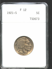 1921-S 5C Fine 12 ANACS. A well-worn but otherwise problem-free example of this scarce variety. About three quarters of...