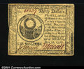 Colonial Notes:Continental Congress Issues, Continental Currency July 22, 1776 $30 Choice Extremely Fine....