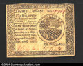 Colonial Notes:Continental Congress Issues, Continental Currency September 26, 1778 $20 Extremely Fine....