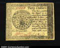 Colonial Notes:Continental Congress Issues, Continental Currency September 26, 1778 $40 Choice About New....