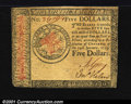 Colonial Notes:Continental Congress Issues, Continental Currency January 14, 1779 $5 Choice Extremely Fin...