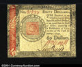 Colonial Notes:Continental Congress Issues, Continental Currency January 14, 1779 $60 Choice Extremely Fi...