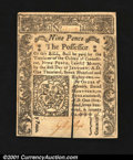 Colonial Notes:Connecticut, Connecticut June 19, 1776 9d Choice New. Slit canceled and ...