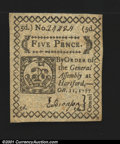 Colonial Notes:Connecticut, Connecticut October 11, 1777 5d Choice New. A lovely little...