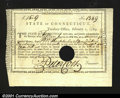 Colonial Notes:Connecticut, Connecticut Fiscal Paper. A hole canceled example of a less...