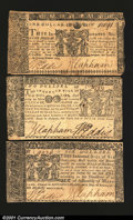 Colonial Notes:Maryland, Maryland April 10, 1774 Three Notes. A $1, $2 and $6 gradin...