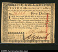 Colonial Notes:Massachusetts, Massachusetts May 5, 1780 $5 Very Choice New. This Massachu...