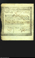 Colonial Notes:Massachusetts, Massachusetts Treasury Certificate, 6% Interest due March 1, ...