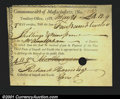 Colonial Notes:Massachusetts, Massachusetts Treasury Collector Certificate 1788 Extremely F...