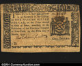Colonial Notes:New York, New York March 5, 1776 $1 Choice Very Fine. A bit off-cente...
