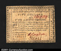 Colonial Notes:North Carolina, North Carolina August 8, 1778 $5 Extremely Fine. In spite o...