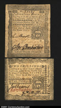 Colonial Notes:Pennsylvania, Two April 3, 1772 Pennsylvanias. An 18d which is a nice V...