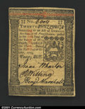 Colonial Notes:Pennsylvania, Pennsylvania October 1, 1773 20s Gem New. Beautifully brigh...