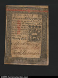 Colonial Notes:Pennsylvania, Pennsylvania October 1, 1773 20s New. A lovely example that...