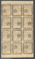 Colonial Notes:Pennsylvania, Pennsylvania April 25, 1776 Small Change Sheet of Twelve. T...