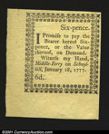 Colonial Notes:Pennsylvania, Pennsylvania January 18, 1777 6d Superb Gem New. A perfect ...