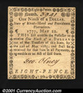 Colonial Notes:Rhode Island, Rhode Island May 22, 1777 $1/9 Choice About New. This is on...
