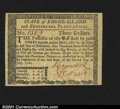 Colonial Notes:Rhode Island, Rhode Island July 2, 1780 $3 Superb Gem New. Signed only on...