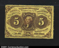 Fractional Currency:First Issue, Fr. 1228 5¢ First Issue Very Choice New. A fully perforated...