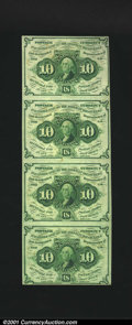 Fractional Currency:First Issue, Fr. 1242 10c First Issue Vertical Strip of Four Choice About ...
