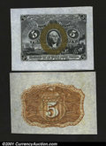 Fractional Currency:Second Issue, Fr. 1232SP 5c Second Issue Medium Margin Pair Gem New. The ...