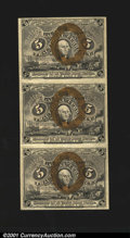 Fractional Currency:Second Issue, Fr. 1233 5c Second Issue Vertical Strip of Three About New....