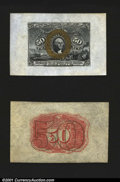 Fractional Currency:Second Issue, Fr. 1314SP 50c Second Issue Wide Margin Pair Choice About New...