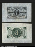 Fractional Currency:Third Issue, Fr. 1227SP 3c Third Issue Wide Margin Pair Superb Gem New. ...