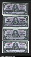 Canadian Currency: , BC-24b $10 1937. Four consecutive examples, each crackling...