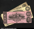 Confederate Notes:Group Lots, A CSA Trio.T9 $20 1861 VFT26 $10 1861 Fine-VF, corner...