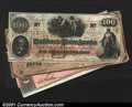 Confederate Notes:Group Lots, A Quartet of CSA Type Notes.T41 $100 1862 CUT55 $1 18...