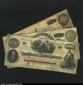 Confederate Notes:Group Lots, A Trio of Rebel Notes.T41 $100 1862 VFT65 $100 18...