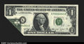 Error Notes:Foldovers, Fr. 1908-K $1 1974 Federal Reserve Note. Gem Crisp Uncirculat...