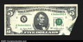 Error Notes:Foldovers, Fr. 1974-K $5 1977 Federal Reserve Note. Extremely Fine. A...